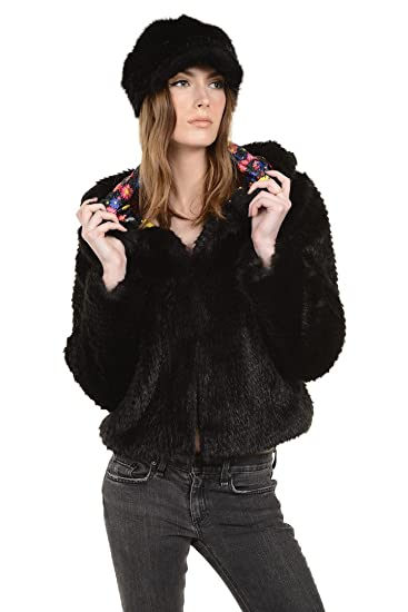 096c787ebd3 Foofi & Bella Faux Fur Cropped Coat with Hood and Floral Lining (Small,  Black
