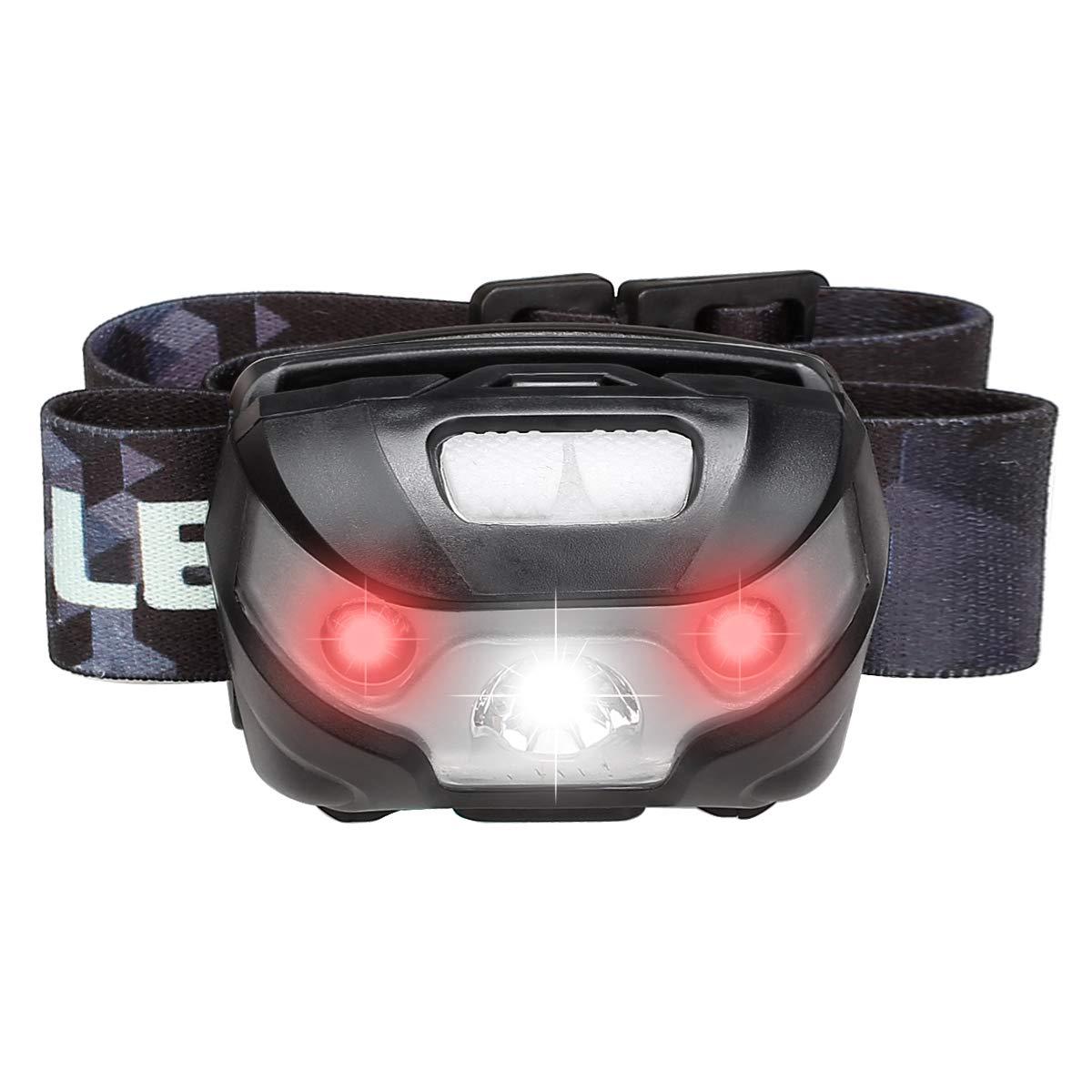 LE Linterna frontal USB recargable, 5 Modos de luz, con luz roja, Ligera Elástica, para Ciclismo, Correr, Deporte nocturno [Clase de eficiencia energética A+] Lighting EVER B01DNDMSLY