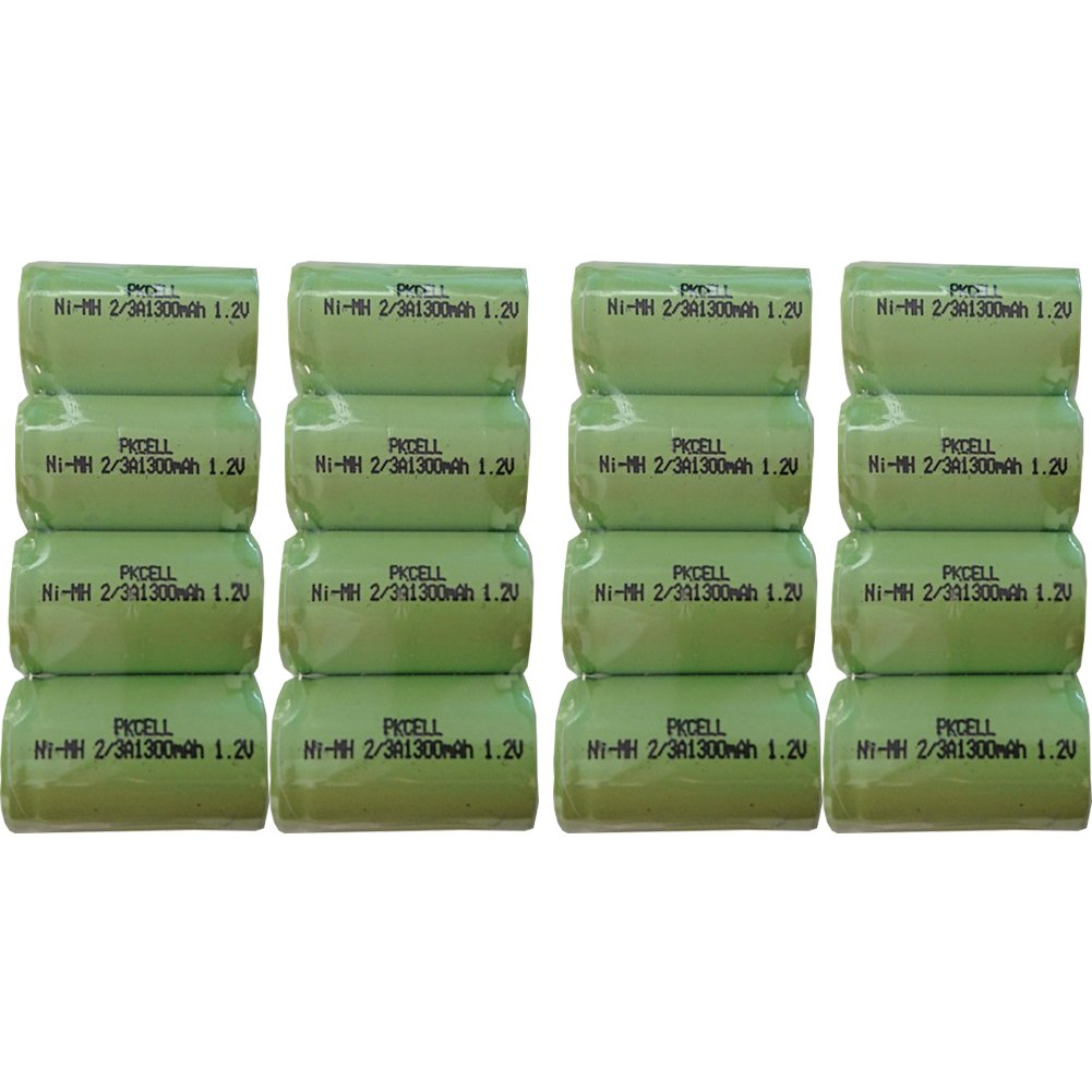PKCELL 1.2V 2/3A 1300mAh NI-MH Rechargeable Battery Flat Top 16Pcs by PK Cell