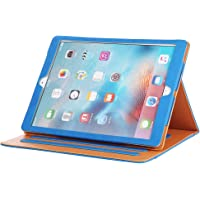 I4UCase Apple iPad 9.7 Inch Soft Leather Stand Folio Case Cover with Multiple Viewing Angles, Auto Sleep/Wake, Document Pocket (Blue)