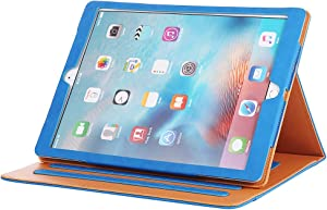 I4UCase Apple iPad 9.7 Inch 2017/2018 (5th/6th Generation) Case - Soft Leather Stand Folio Case Cover for iPad 9.7 Inch 2017, with Multiple Viewing Angles, Auto Sleep/Wake, Document Pocket (Blue)