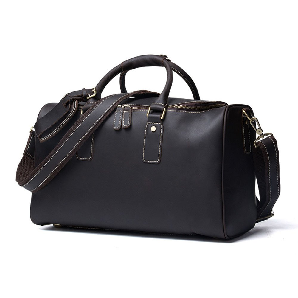 Color : Chocolate Ybriefbag Unisex Classic Leather Mens Bag Brown Leather Travel Duffel Bag Casual Mobile Messenger Bag Vacation