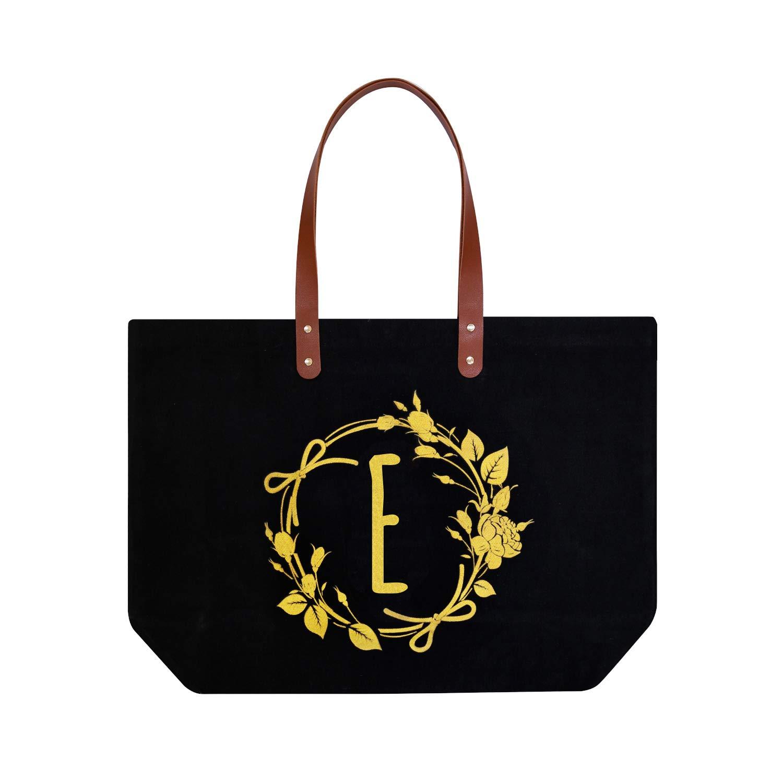 ElegantPark E イニシャル モノグラム パーソナライズ トラベル メイクアップ コスメティック バッグ ショルダー トート ジッパーキャンバス付き One size ブラック B07P7YXB1P Black E-Shoulder Bag
