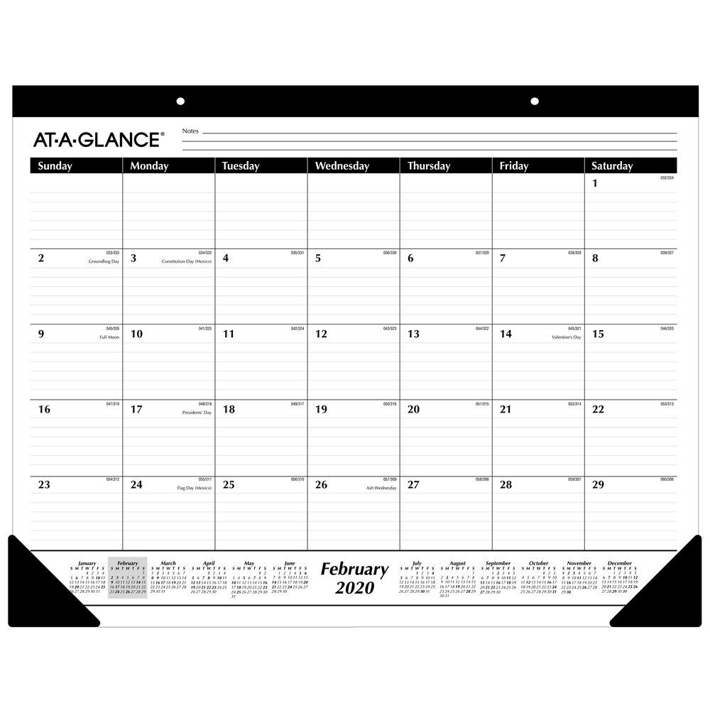 "AT-A-GLANCE 2020 Desk Calendar, Desk Pad, 21-3/4"" x 17"", Standard, Ruled Blocks (SK2400)"