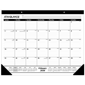 "AT-A-GLANCE 2020 Desk Calendar, Desk Pad, 21-3/4"" x 17"", Standard, Ruled Blocks (SK2400)"