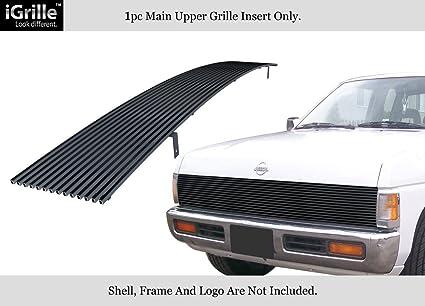 APS Fits 86 97 Nissan Pickup Phantom Black Stainless Steel Billet Grille Insert N85230J