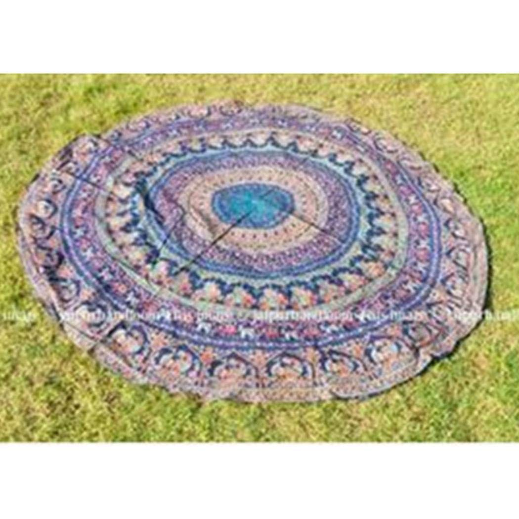 Mandii Round Floral Blanket Yoga Mat All Seasons Sunbath Beach Towels Tapestries Tapestries