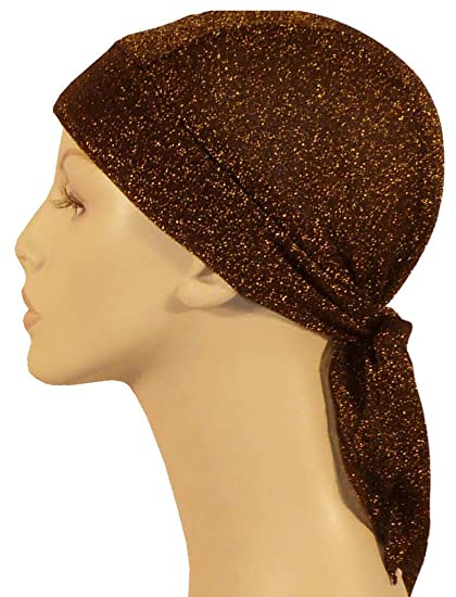 ededeee03dd Stretch Skull Cap - Gold Threads on Brown at Amazon Men s Clothing ...
