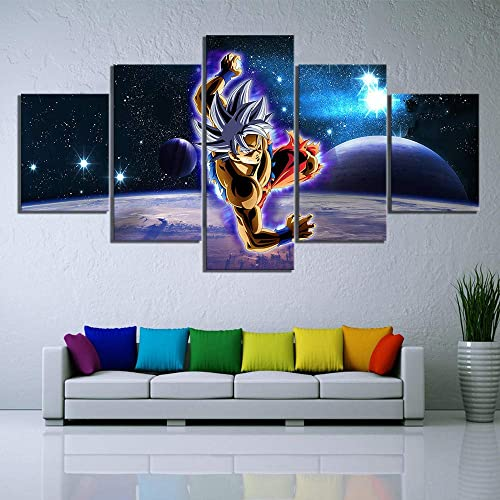 SWXXLY Wall Art Printed Canvas Painting 5 Pieces Dragon Ball Super Anime Pictures Modular Starry Night Sky Poster Home Decor Kids RoomFramed40x60cm40x80cm40x100cm
