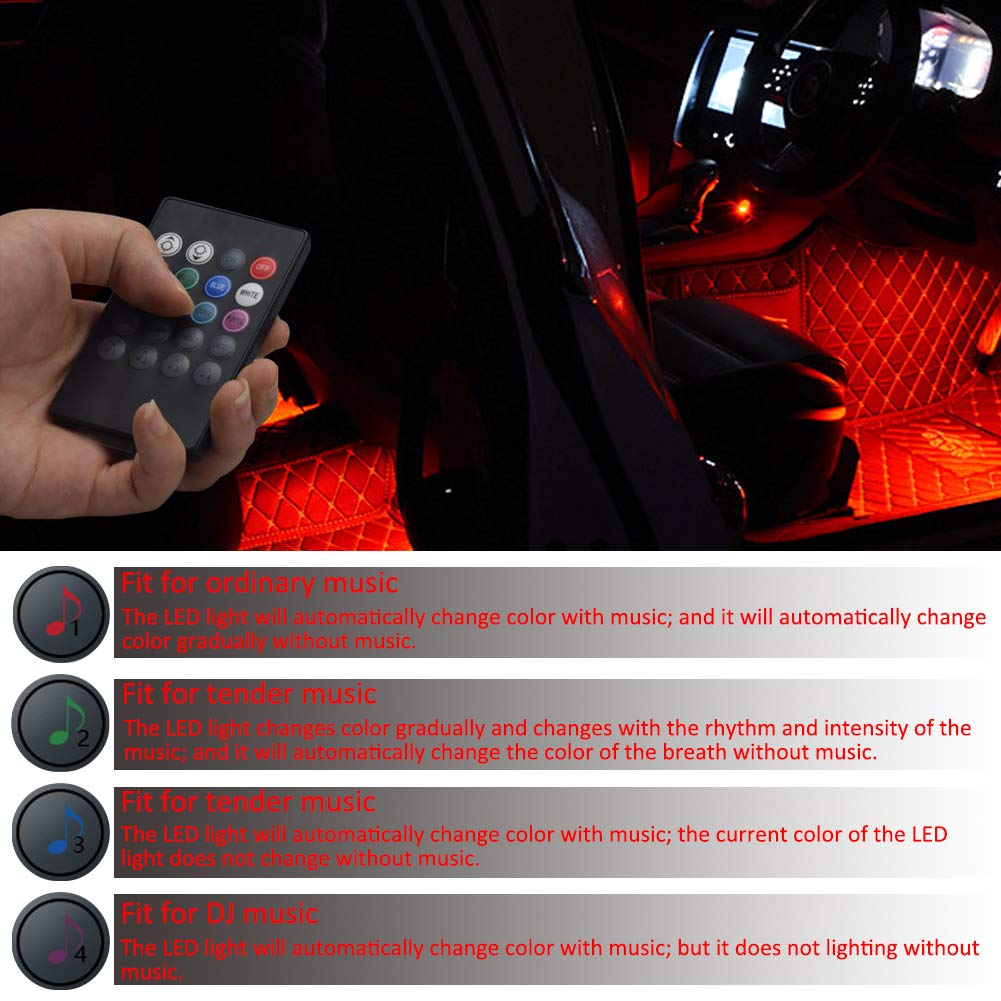FICBOX Car LED Strip Light 4Pcs 48 LEDs Multicolor Car Interior Light with Sound Active Function Wireless Remote Control Car Charger