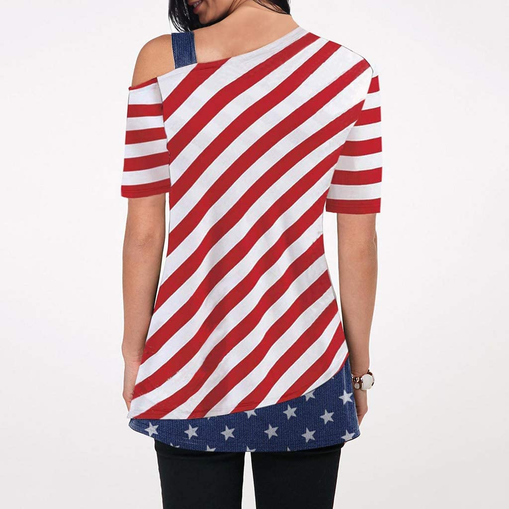 Xavigio Womens Off Shoulder Strap Short Sleeve American Flag Print Tunic Tshirts Casual Plus Size Blouses Top