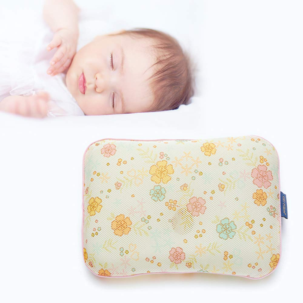 Gio Pillow 3D Air Mesh Baby Pillow, Head Shaping Pillow, Flat Head Syndrome Prevention [Gold Flower/Small]