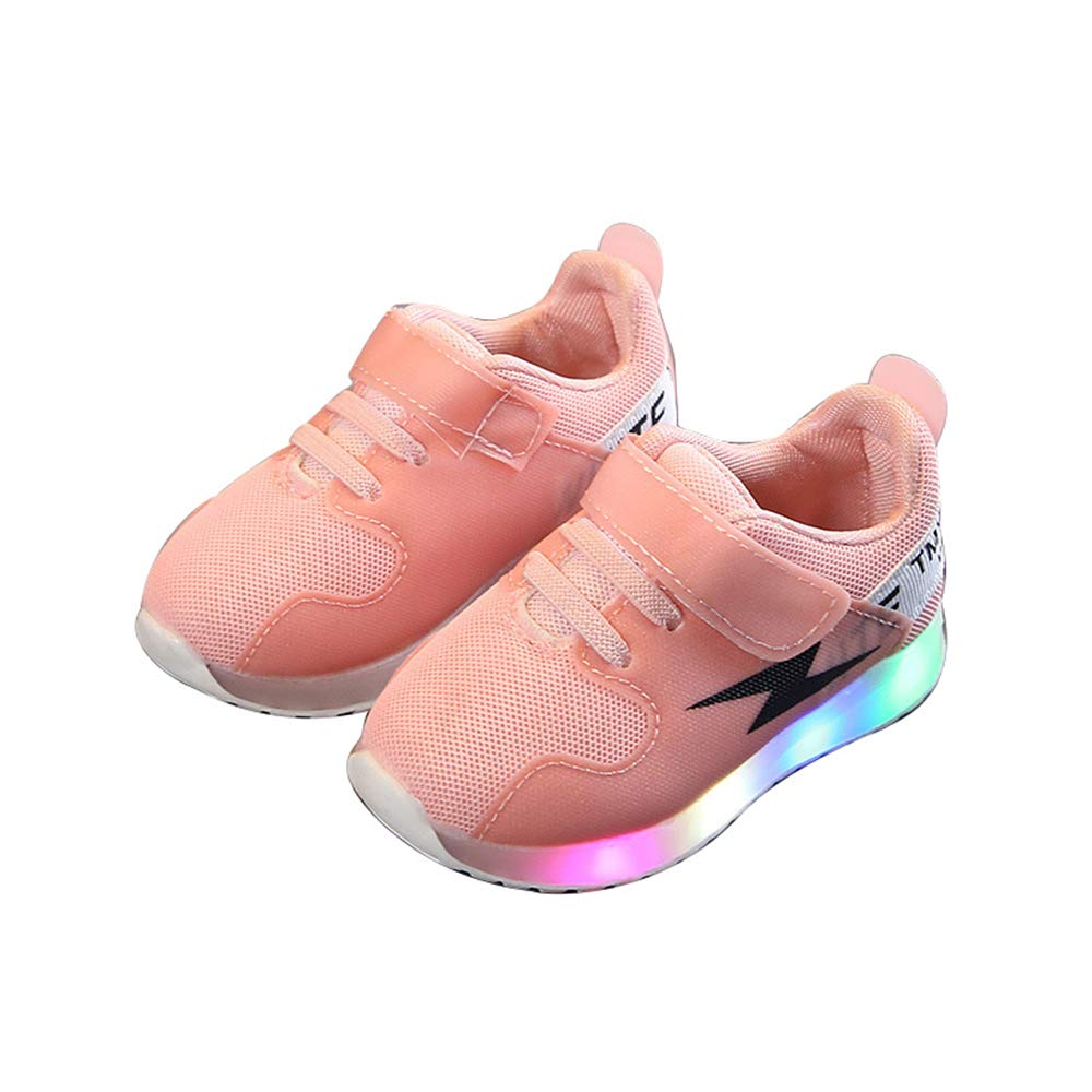 edv0d2v266 Fashion Baby Toddler Kids Girls Boys Light up Led Luminous Casual Shoes(Pink 29/11.5 M US Little Kid)