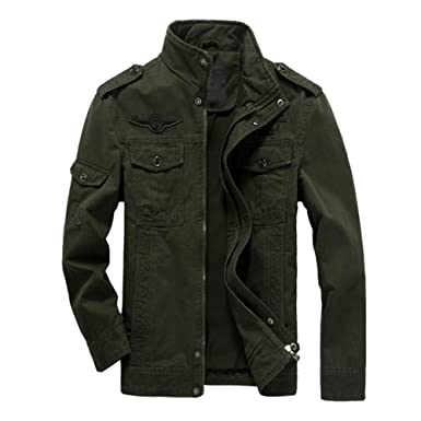 6776a0603 Rrimin Men Casual Jacket Washed Stand Collar Handsome Outwear Coat