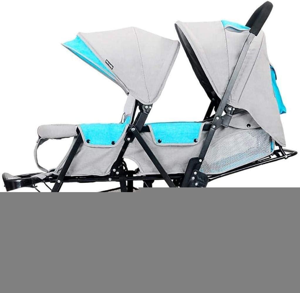 YONGYONGCHONG Carretilla Sentado Delante Trasera Doble Doble Cochecito, Puede Sentarse reclinado, Ligero Plegable de cochecitos de bebé Triciclo (Color : B)