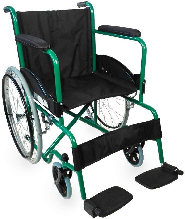Mobiclinic, modelo Alcazaba, Silla de ruedas para minusválidos, premium, manual, plegable, ortopédica, de aluminio, freno en manetas, reposapiés, reposabrazos, color Verde, asient