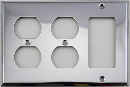 Polished Chrome 3 Gang Cover Switch Plate 2 Duplex Outlet Openings