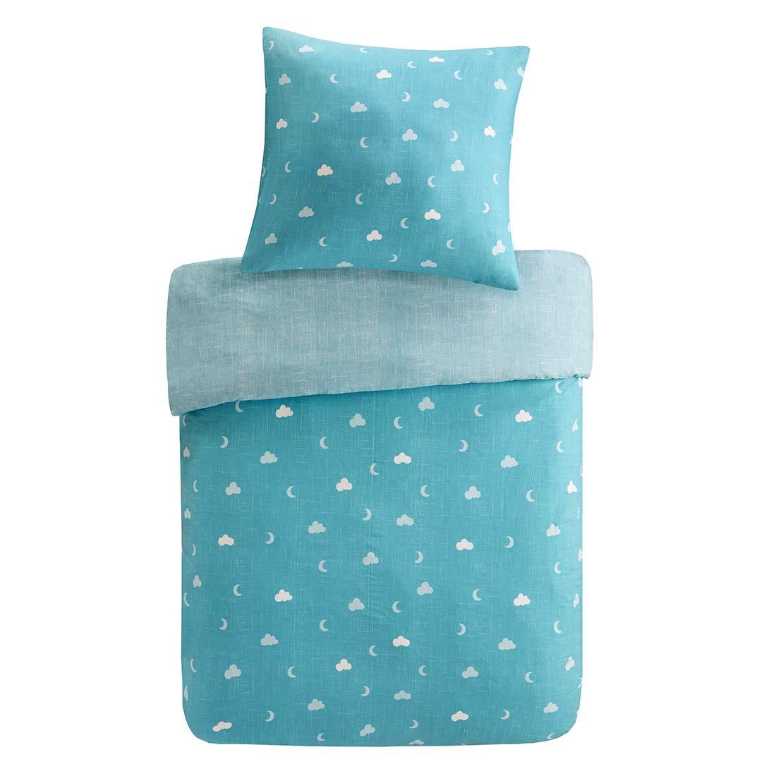 Renforcé Kinderbettwäsche Set 2-Teilig Eule mit Blumen & Wolken Bettbezug Kopfkissenbezug 100% Baumwolle Jungen Einzelbett Blau, 135x200cm+80x80cm SCM Home