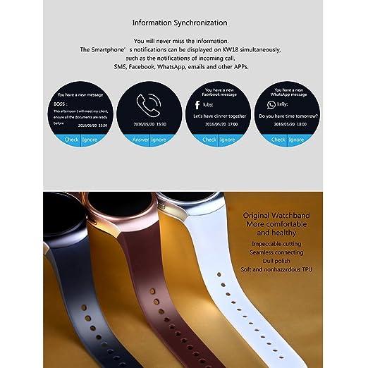 Teléfono con Bluetooth Smart Watch King-Wear KW18 Tarjeta SIM con TF SmartWatch con frecuencia Cardíaca (Color Negro): Amazon.es: Electrónica