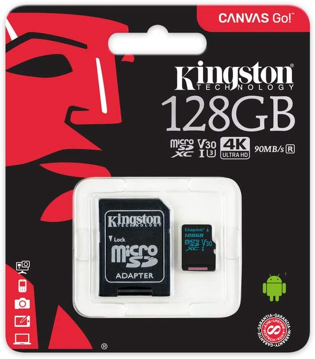Kingston Canvas Go! 128GB microSDXC Class 10 microSD Memory Card UHS-I 90MB/s R Flash Memory Card with Adapter (SDCG2/128GB)