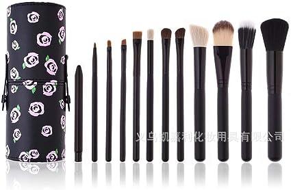 set de brochas para maquillaje Juego de cepillo para cubos de maquillaje, 12 palos, 12 rosas negras: Amazon.es: Belleza
