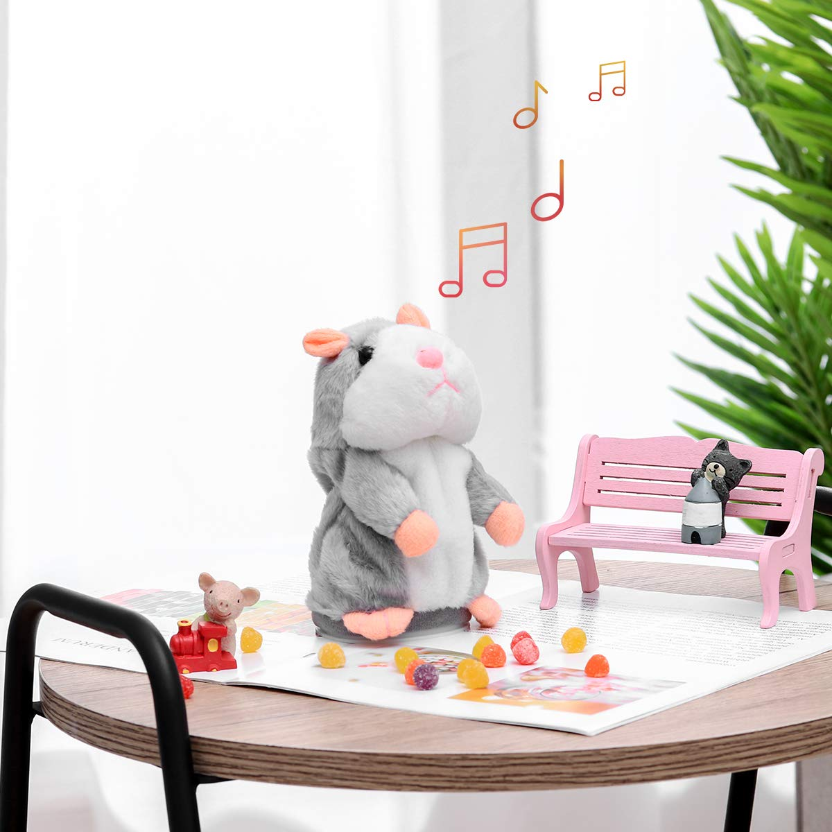 Grey NUOBESTY Talking Hamster Toy Stuffed Animal Interactive Toy Repeat What You Say Mimicry Pet Toy Electronic Record for Children Early Learning Gift