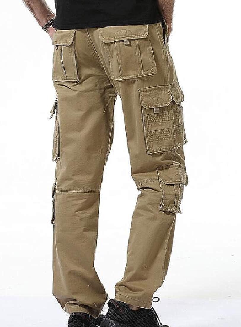 pipigo Men Outdoor Cotton Military Multi Pockets Straight Cargo Long Pants