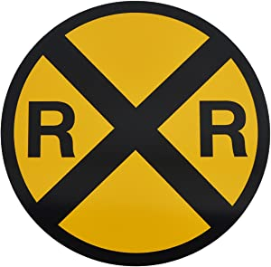 TG,LLC Treasure Gurus Yellow Metal Caution Railroad Crossing Road Street Sign Warning Train RR XING
