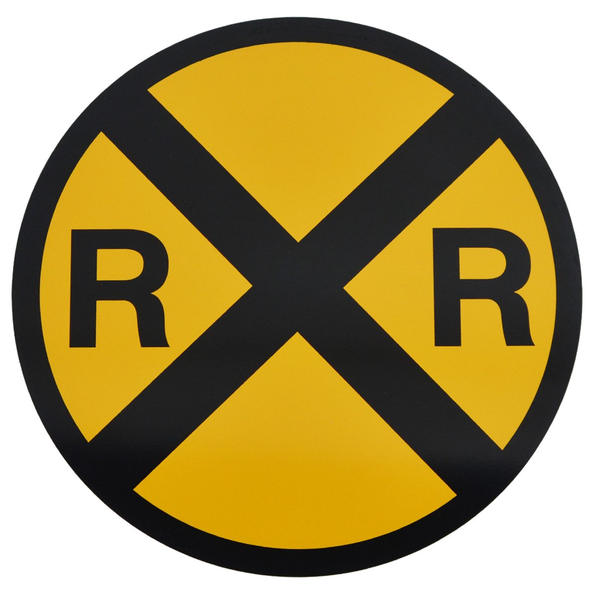 Amazon.com: Yellow Metal Caution Railroad Crossing Road Street Sign ...