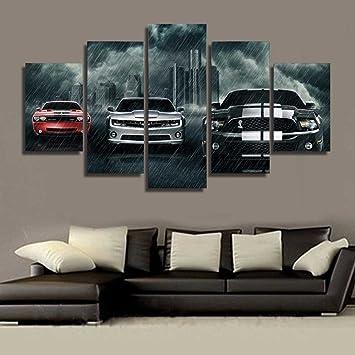 la vie 5 teilig wandbild gemalde auto im regensturm hochwertiger leinwand bilder poster drucken moderne kunstdruck