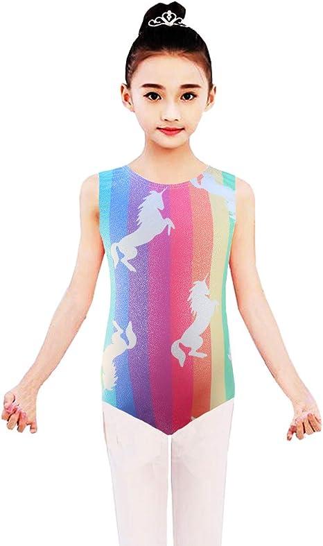 Leotards for Girls Gymnastics Sparkly Unicorn Rainbow Kids Children Biketard Dance Ballet Unitard for 2-9T