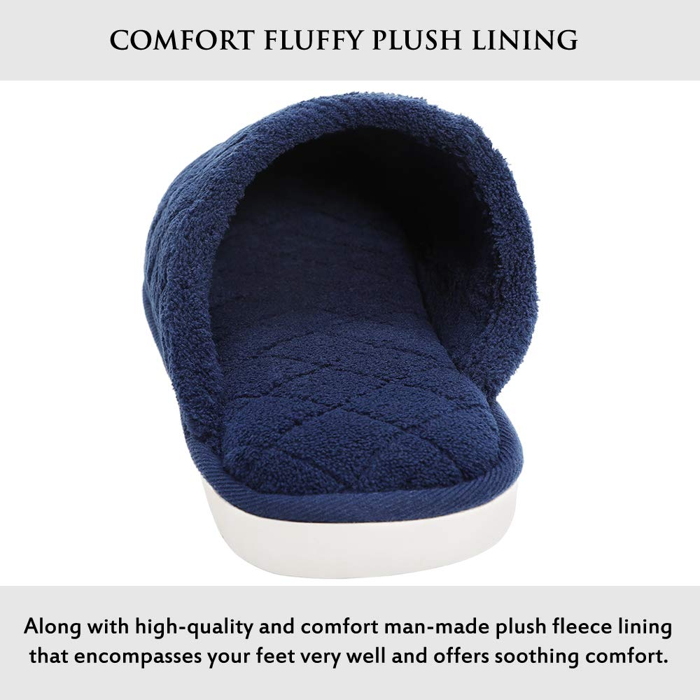 Slippers for Men Soft Indoor//Outdoor Home Slippers Fuzzy Wool-Like Lined Cozy Memory Foam House Slippers for Men Anti-Skid Rubber Waterproof Sole Blue
