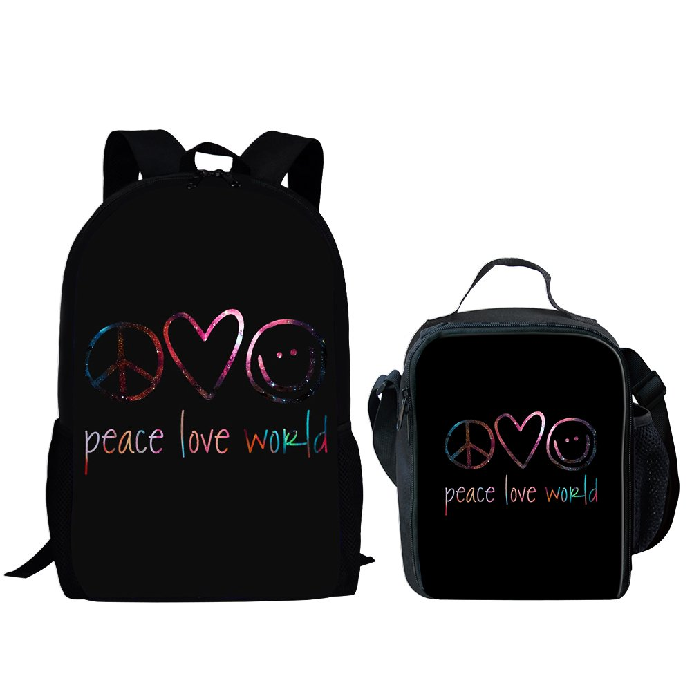 Ruiyida Peace Love World Kids School Backpack For Elementary Girl Boy