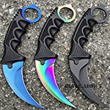 New 3 PC SET TACTICAL COMBAT KARAMBIT NECK EcoGift Nice Knife with Sharp Blade Survival Hunting BOWIE Fixed Blade- Great For Fun And Practical Use