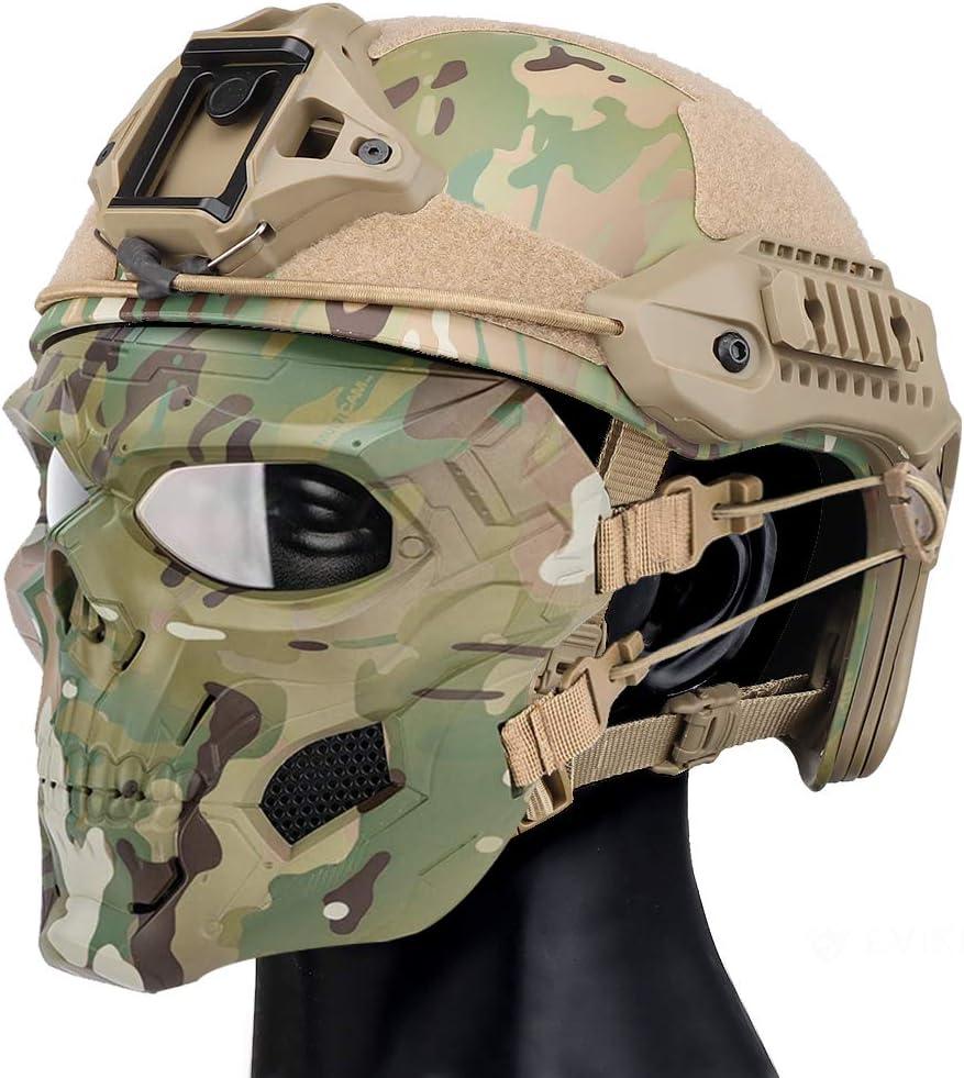YCYR MK Casco protector táctico, con gafas claras de cara completa y doble modo de uso máscara de calavera para Airsoft Paintball CS Game