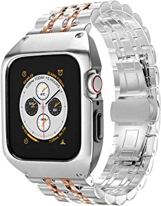 EloBeth Compatible with Apple Watch Band 42mm Series 3 with Case, Stainless Steel iWatch 42mm Bands with Protective Cover for Apple Watch Series 3 (Silver/Rosegold, 42mm)