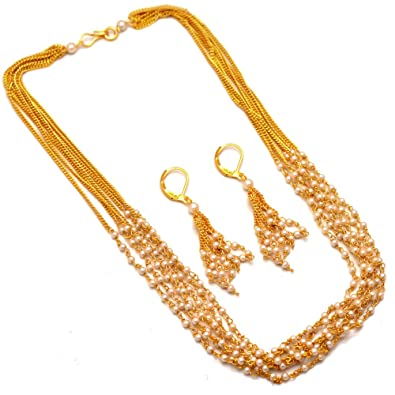 590ad12e75 Buy Jewar Mandi Chain Necklace One Gram Gold Pearl Polki Mala Gemstones  Jewelry 7422 for Women Girls Online at Low Prices in India | Amazon Jewellery  Store ...