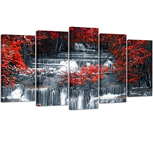 Visual Art Decor 5 Pieces Canvas Wall Art Red Trees Forest Black and White Waterfall Landscape Picture Prints Modern Home Office Wall Decoration Ready to Hang (01 5 ()