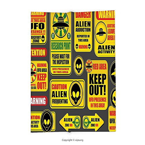 Custom printed Throw Blanket with Outer Space Decor Warning Ufo Signs with Alien Faces Heads Galactic Paranormal Activity Design Yellow Super soft and Cozy Fleece Blanket by vipsung