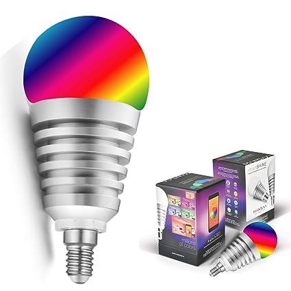 Mansaa SmartShine - Bluetooth Wireless Smart LED Bulb - (9W, E14, Silver Body) Disruptive Innovations at amazon