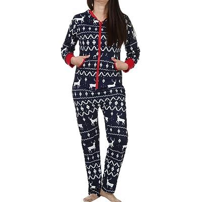 3D Noël Wapiti Imprimé Combinaison Pyjamas Hooded Femme, QinMM Vêtement de Nuit Zipper Sweat à Capuche Chaud Longue Manche Dames