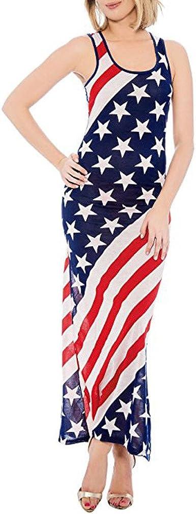 Lilicat Mode Femmes Sexy Drapeau Americain Imprimer O Cou Sans Manches Summe Longue Robe Gaine Naturel Vintage Femmes Mode Col Rond Drapeau Americain Robe 2xl Amazon Fr Vetements Et Accessoires