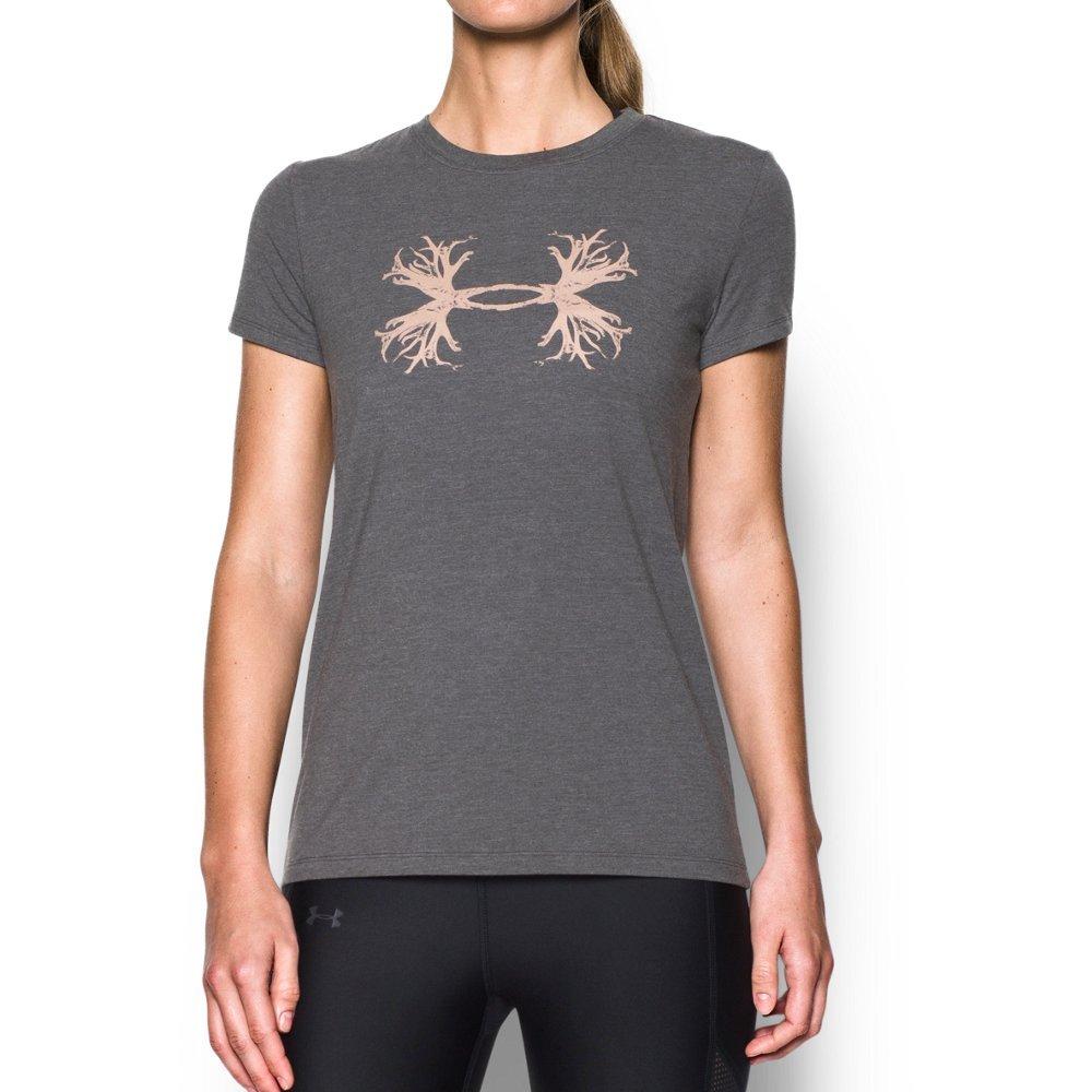 Under Armour Women's Antler Logo T-Shirt,Anthracite Medium He (017)/Metallic Beige, Medium by Under Armour