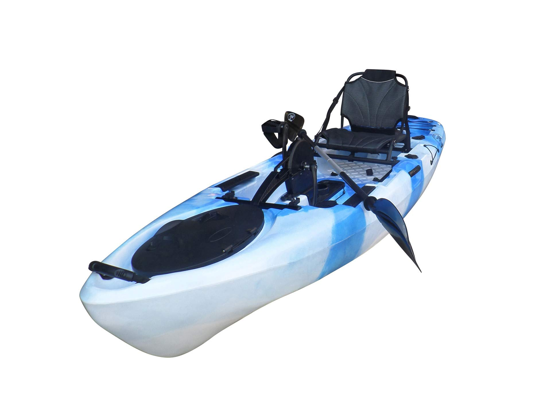 BKC UH-PK11 Pedal Drive Solo Rover 10-Foot 6-Inch Solo Kayak Propeller-Driven Sit On Top Single Fishing Kayak with Pedal Drive, Rudder System, Paddle, and Seat Included (Blue Camo) by Brooklyn Kayak Company
