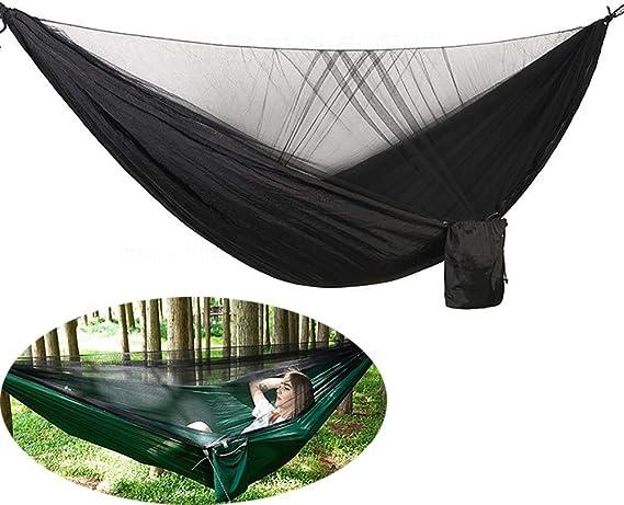 QJJML Double Camping Hammock,Hamaca con mosquitera, Cremallera bidireccional de Dos Cabezas, Capacidad de Carga de hasta 300 kg, Material cómodo y Transpirable, Ligero y portátil,E: Amazon.es: Hogar