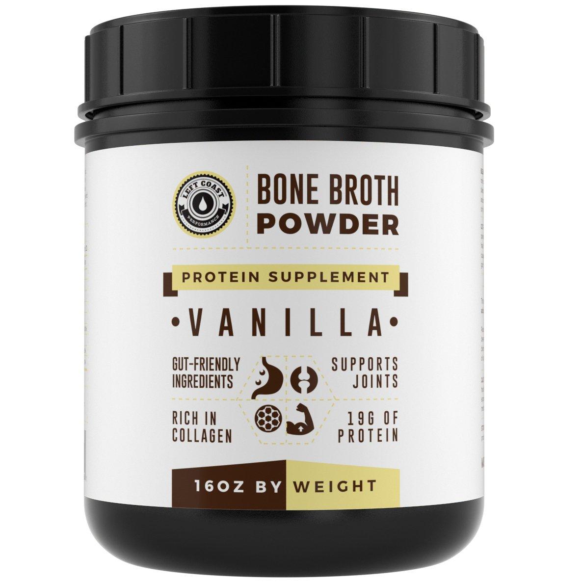 Bone Broth Protein Powder Vanilla 16Oz, Grass Fed - Non-GMO, Gut-Friendly, Dairy Free Protein Powder, Left Coast Performance