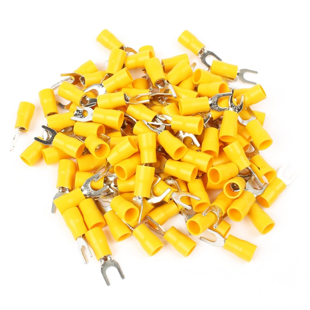 SODIAL SV5.5-5 Pre Insulated Fork Terminal for AWG 12-10 Wire and #10 Stud, 500 Piece, Yellow,Silver