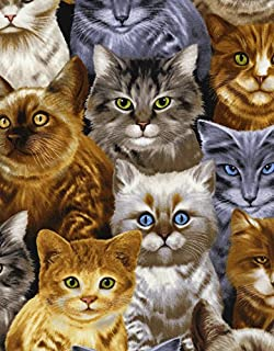 Fat Quarter Adorable Pets Kittens Cats Cotton Quilting Sewing Fabric