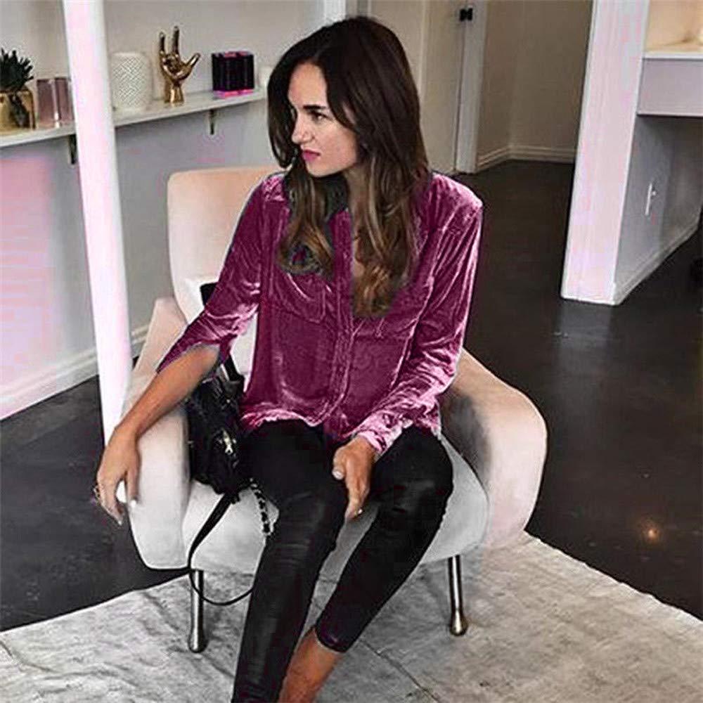 STORTO Womens Solid Retro Velvet Shirt Casual Long Sleeve Turn-Down Collar Tops for Work
