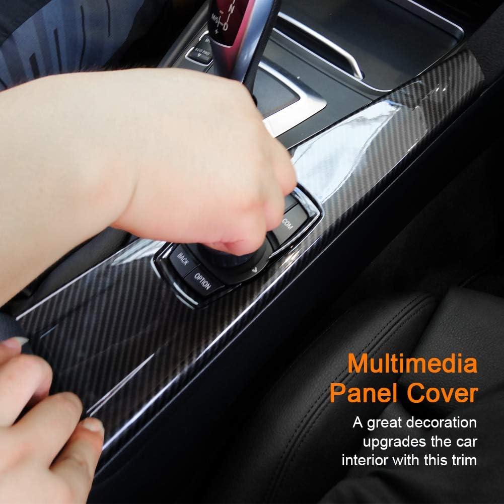 Fydun Car Panel Cover Trim Interior 1pc Trim Control Panel Sticker Carbon Fiber ABS Interior Multimedia Panel Cover Trim for 3 Series F30 F34 4 Series F33 F36